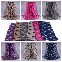 Wholesale Wholesale Printed Animal Scarves - 12 pcs Animal print scarf new winter fashion Horse printed scarves scarves wholesale 180*90cm 6 colors YYA410