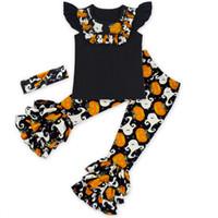 Wholesale Green Leaf Sticker - 2016 New Arrival Halloween Costume For Kids Black Pullover Pumpkin Sticker Striped Ruffle Lotus Leaf Edge Pants Girl Set