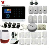 negocio ip al por mayor-Venta al por mayor- YobangSecurity Wifi Wireless Home Business Security Sistema de alarma con Auto Dial Detectores de movimiento Sirena de la cámara IP para la seguridad