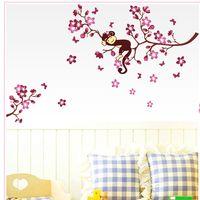 Wholesale Baby Nursery Monkey - Cute Monkey Pink Flower Blossom Tree Wall Sticker Art Baby Girls Room Nursery Kids Children Bedroom Removable Wall Decals WS237