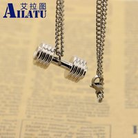 Atacado Silver Plated Alloy Metal Barbell Corrente de aço inoxidável Fitness Fashion Dumbbell Necklace, Dumbell Men's Gift