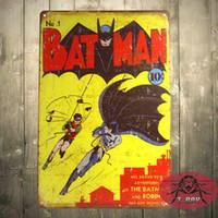 Wholesale Street Tiles - Batman No1 Cover - 20*30cm-Retro Rustic Metal Tin Sign Man cave retro style ,Street Rod,for the Garage 160909#