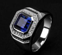 ingrosso anello di diamanti blu-All'ingrosso - fine Hot sigh Quliry solitarie blu zaffiro 925 sterling argento simulato diamante uomini anello nuziale
