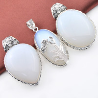Wholesale Opal Antique - Mix Style 3PCS Lot Classic Fire Moonstone Opal Gemstone Antique 925 Silver Pendants for Necklace Party Holiday Gifts