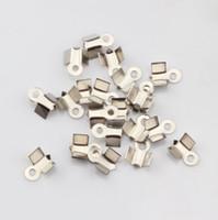 Wholesale Cord Ends Caps Crimp - Hot! 1000Pcs 4x9mm End Cord Fold Crimp Bead Cap Silver Plated DIY Jewelry