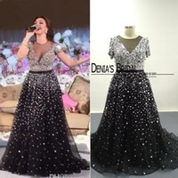 myriam fares celebrity robe de soirée achat en gros de-Myriam Fares Robes de soirée noire Real Images 2016 Vestidos Sheer Crew Neckline manches courtes Blingbling Beaded Sweep Train Celebrity Gowns