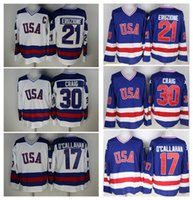 Wholesale Usa Mike - 30 Jim Craig 21 Mike Eruzione 17 Jack O'Callahan 1980 USA Hockey Jersey Team USA Miracle On Alternate Year Throwback Vintage Jerseys