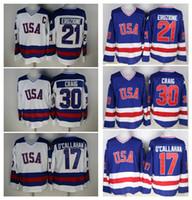 Wholesale Black Years - 30 Jim Craig 21 Mike Eruzione 17 Jack O'Callahan 1980 USA Hockey Jersey Team USA Miracle On Alternate Year Throwback Vintage Jerseys