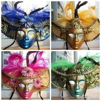 Wholesale Blue Face Paint - 2016 Easter Masquerade Carnival Color Feather Mask   Red Blue Green Yellow Luxury hand-Painted Venetian Upscale Full-Face Mask