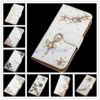 estuches para iphone diamond bow al por mayor-Para Galaxy S7 NUEVA moda Crystal Bow Bling Tower 3D Diamond Glitter Wallet Fundas de cuero para Samsung Galaxy S7 Case