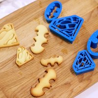 Wholesale Set Pastry - 4 pcs  set Home Kitchen Baking & Pastry Tools Cookie Mold Super Hero Batman Superman Cookie Cutters Sugarcraft Cake Decoration Free Shipping