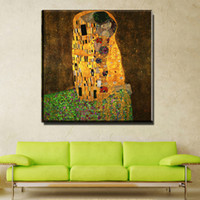 Wholesale art paintings - ZZ743 Gustav Klimt the kiss Oil Painting on Canvas Pictures For Living Room Wall Art Cuadros Decoracion Modular Wall Paintings