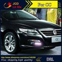 Wholesale Vw Cc Fog - Free shipping ! 12V 6000k LED DRL Daytime running light for VW CC 2010-2013 fog lamp frame Fog light Car styling