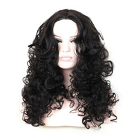 Wholesale Real Wavy Hair Wigs - Real picture wavy black wig long curly wigs for black women synthetic hair wigs heat resistant wig fluffy