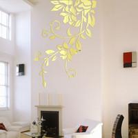 diy çiçek aynası toptan satış-140 * 81Cm Diy Akrilik Ayna Duvar Çıkartmaları Ev Dekoru Duvar Çıkartmaları Dekorasyon Ayna Yaprak Dökmüş Çiçek Sarma Stickers Duvar
