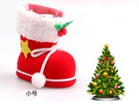 Wholesale Childrens Party Bags Wholesale - Festival Supplies Christmas Decoration Sock Gift Bag Childrens Candy Bags Red Green Color Party Supplies DHL Free