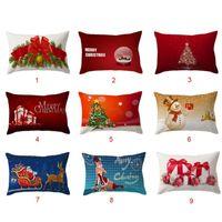 Wholesale flax weaving - Christmas Gift Pillow Case Christmas Bowtie Snowman Pillow Cover Cushion Pillowslip Linen Flax Rectangle Pillow Ornament Random Color
