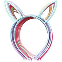 Wholesale Fox Mix - Spring Colors For Baby Girls Plastic headbands Rabbit Bunny Ears Headbands Fox Ears Head Band Children Accessories 12pcs  Lot