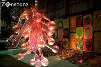 rote blase kronleuchter licht großhandel-Kreatives Design Einzigartige Form Bar Restaurant Dekor Red Glass Bubbles Murano Glass Kronleuchter und Anhänger Beleuchtung