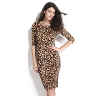 Wholesale Leopard Print Tight Dress - 2017 Leopard fashion Women's clothing New Tight Five point sleeve Leopard Backless Slim Small waist Dress dress hot sale Pencil skirt 6560