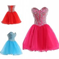 Wholesale Short Strapless Lace Up Corset - Short Homecoming Dresses Cheap Party Dresses Real Pictures Sweetheart Corset A Line Beaded Red Light Sky Blue Hot Pink Bridesmaid Dresses