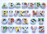 Wholesale Letters Colored Rhinestones - 130pcs 8mm A-Z Colored Half Rhinestone DIY Slide letter Fit Pet Collar Necklace Wristband keychain Phone strips