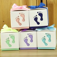 Wholesale Candy Carts - Wedding Favor Ribbon Box Hollow Baby Cart Footprint With Ribbon European Wedding Gift Boxes Candy Paper Gift Box Various Colors