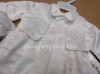 Wholesale New Set Boy - New Kid Baby Boy Embroidery Baptisim Clothing Set With Hat Toddler Christening Clothes 4set lot set bit
