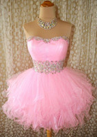Wholesale Mermaid Strapless Ball Beaded Dress - Ball Gown Puffy Pink Prom Dresses 2016 Soft Sweetheart Neck Short Mini Ruched Beaded Crystals Sleeveless Custom Made Backless Short Dresses