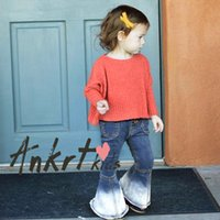 Wholesale Kids Boots Girls Cowboy - Ins Girls flare jeans Europe American style child gradient boot cut trousers girl casual cowboy pants kids double pocket denim pants R0791