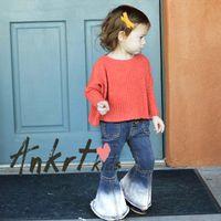 Wholesale Children Cowboy Boots - Ins Girls flare jeans Europe American style child gradient boot cut trousers girl casual cowboy pants kids double pocket denim pants R0791