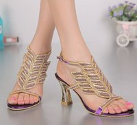 Wholesale Ladies Sexy Gladiator Shoes - hot large size 34-44 women sexy thick high heels gladiator open toe sandals rhinestone crystal summer bling bling ladies shoes comfortable