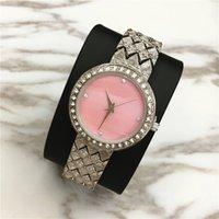 Wholesale Pink Rose Quartz Jewelry - Top Brand Women watch Special Design Rose Crystal Luxury Jewelry Lady Wristwatch Women Quartz Pink color Free shipping Steel Bracelet Chain