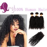 Wholesale Deep Wave Perm - 8A Brazilian Virgin Hair With Top Lace Closure 3 Bundles Human Hair With Closure Deep Curly Rosa Hair Products With Closure