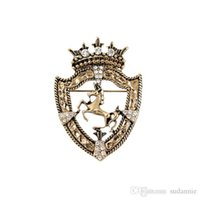 Wholesale Tibet Horse - 2017 Cross Broche New Brooches Metrosexual Horse Coat Shield Badge Vintage Suit Brooch British Crown Pin High-end Accessories