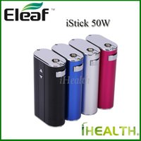 Wholesale Fast Alarms - Fast shipping Eleaf iStick 50W Kit 4400mah 50w Max Output Temperature Alarm Switchable VW VV mode with eGo connector USB cable