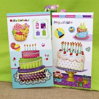 Wholesale New Handmade Birthday Cards - (16pieces  Lot )3d Stereo Cake Handmade Birthday Greeting Card With Envelope Happy Birthday Gift To Friend Card Set Free Shipping