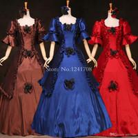 Wholesale Gothic Renaissance Dresses - Hot Sale Marie Antoinette Victorian Era Period Costumes Renaissance Medieval Dresses Historical Gothic Prom Dress Customized