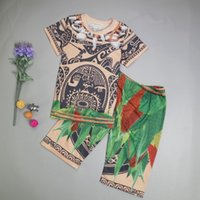 Wholesale Loose Sleeve Shirt Outfit - Baby Boys Moana Printed Pajamas Sets Short Sleeve T-shirt+Loose Pant Summer Moana Maui Cartoon Outfits Kids Suits