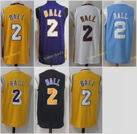 Wholesale Mens Black Sleeveless - New 2017-2018 mens Los Angeles 2 Lonzo Ball Men Jersey UCLA Bruins College Blue Basketball Jerseys Purple White Yellow Black 100% Stitched