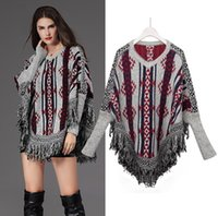 Wholesale Europe Long Ponchos - Autumn Winter Europe Fashion Women's Poncho Sweater Lady's Jacquard Knitted Pullovers Bat-wing Sleeve Knitwear Tassels Sweaters C2290