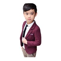 Wholesale outerwear blazers - fashion kid boy blazer coat solid gentleman causal jacket coat for 2-10years boys kids children outerwear tops clothes hot