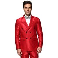 красный формальный костюм оптовых-Wholesale-2016 New Arrival Men Wedding Dress Business Suit Formal Dress Comfortable Suit Two Buttons Suit Custom Made Blazer Red suit set