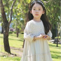 Wholesale 8years Girl - Quality 2016 girls lace dress crochet Long sleeve 100%cotton dress middle kids dresses girls clothing children clothes wholesale 3-8years