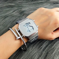 Wholesale Hot Girl Water - New Hot Fashion Bear High-quality Quartz Men's Wristwatches square Belt Luminous Running Second Function Women and girl Electronic Watches