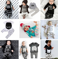 Wholesale Infant Outfits Wholesale - New INS Baby Boys Girls Letter Sets Top T-shirt+Pants Kids Toddler Infant Casual Long Sleeve Suits Spring Children Outfits Clothes Gift