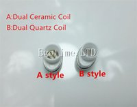 Wholesale Elips Dhl - DHL Full Ceramic Dual Wax Coil with Ceramic Rod dual quartz Rod Ceramic Donut for micro Elips Wax pen Vaporizer E Cigarette Atomizer
