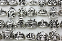 Wholesale Top Skull Rings - New Top 20pcs Retro Skull Skeleton Gothic Alloy Rings Wholesale Punk Style Rings For Mens