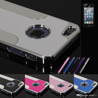 Wholesale Brushes Steel Iphone Case - Luxury Blade Case Brushed Plastic Steel Metal Chrome Shockproof Hard Skin Back Cover For iPhone 5 5S+Stylus Film 6 Colors New