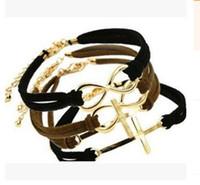 Wholesale Leather Cross Word Bracelet - Infinity Leather bracelet Retro Leather Bracelet Creative Retro Love 8 Word Cross Hand Woven Bracelets & Bangles Cross Love Bracelet